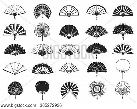Handheld Fan. Black Silhouettes Of Chinese, Japanese Paper Folding Hand Fans, Traditional Asian Deco