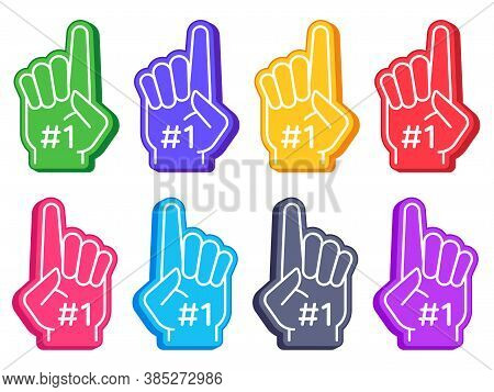 Fan Foam Fingers. Color Sports Glove With Number One, Stadium Supporter Pride Accessory, American Fo
