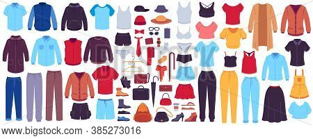 Clothes And Accessories. Fashion Women And Men Seasonal Outfits, Clothes, Footwear And Bags, Accesso