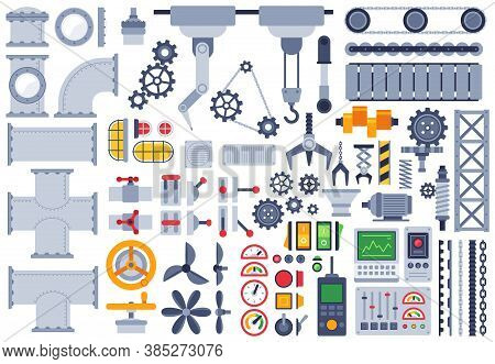 Flat Machinery. Auto Construction Different Mechanism, Technical Gears, Pinion, Shaft, Joints, Facto