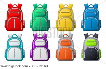 Color Sport Backpack Mockup. Different Colored Backpacks, Bags For Travel, Sport Or School Clothes A
