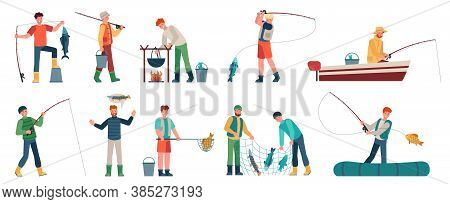 Cartoon Fisherman. Fishermen In Boats Holding Net Or Spinning. Fisher With Fish, Fishing Accessory,