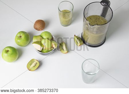 Healthy Green Smoothie. Detox Food Concept Based On Smoothies.