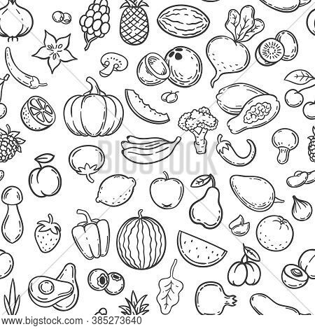 Vegetables And Fruits. Hand Drawn Contour Fruit And Vegetable Icons, Vegan Lifestyle, Healthy Organi