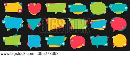 Quotes Frames. Vector Text Banner Template For Comment Talk, Frame Remark And Speech Quotation Messa