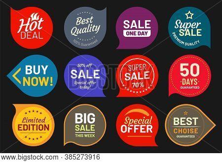 Sale Quality Badges. Quality Stamp Sticker, Badge Premium, Product Emblem Price Illustration, Discou