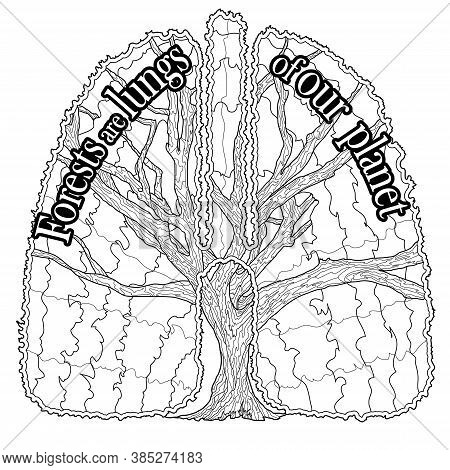 Coloring Page On Social Issues Environmental Problems With Quote Forests Are Lungs Of Our Planet. Ve