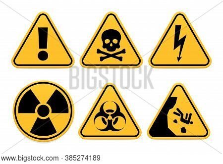 Danger Signs. Safety Symbol, Alert Icon And Caution Isolated, Hazard And Dangerous Vector Illustrati