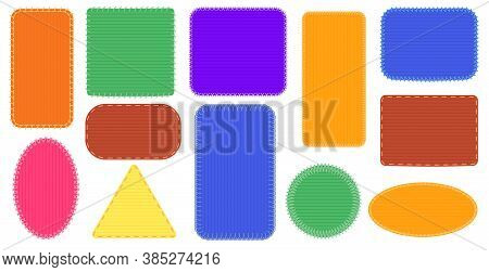 Fabric Patches Frames. Triangle And Rectangle Seam, Oval Colored Badge, Canvas Stitch Frame Illustra