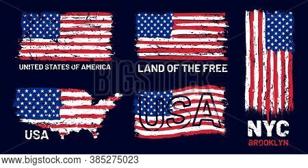 American Flag Grunge. Patriotic Style Print With Us Flag And Lettering, T-shirt And Poster Graphic D