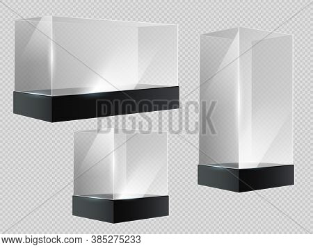 Glass Cube. Transparent Plastic Showcase, Empty Retail Or Museum Display In Block Shape In Perspecti