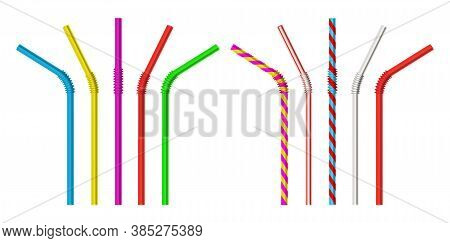 Drinking Straw. Realistic Classic Plastic Striped And Colorful Direct And Bended Drinking Straws Iso