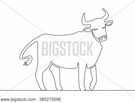 One Line Ox. Chinese New Year 2021 Bull Continuous Line Art, Zodiac Asian Astrology Symbol, Oriental
