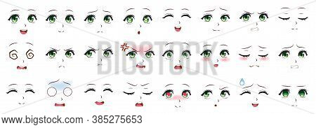 Manga Expression. Anime Girl Facial Expressions. Eyes, Mouth And Nose, Eyebrows In Japanese Style. M
