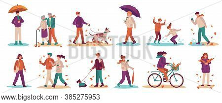 People In Fall Season. Men And Women Walk Street, Ride Bicycle, Walking Dog. Young And Adults Umbrel