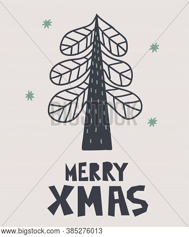 Merry Xmas Postcard. New Year Card With Christmas Trees And Lettering, Winter Festive Gift Cards, No