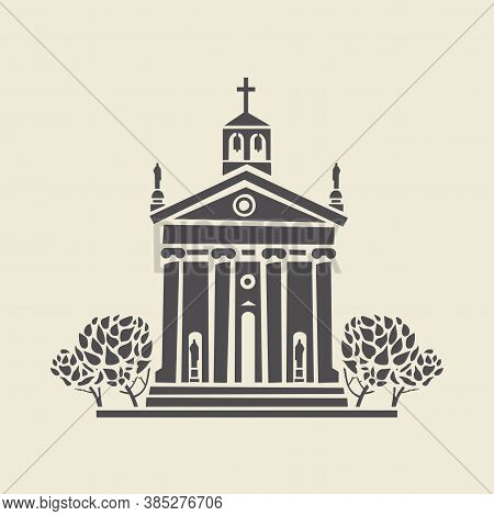 Icon Or Stencil Of A Stylized Bell Tower With Columns And Bushes. Decorative Vector Illustration Of
