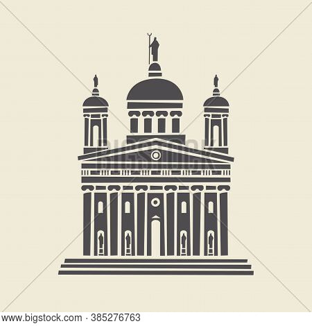 Icon Or Stencil Of A Stylized Old Administrative Building With Architectural Columns, Pediment And S