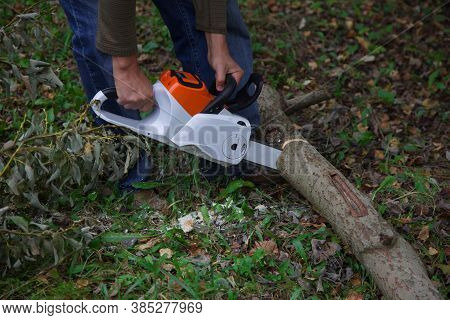 A Lumberman With An Electric Saw Cuts A Log. Lumberjack At Work. Technique Of Working With The Tool.