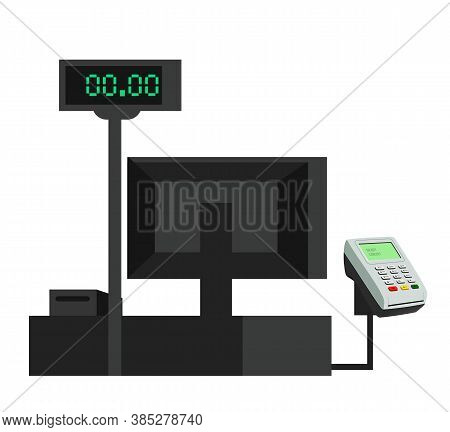 Cash Desk With Pos Terminal, Monitor With Numbers, Computer Screen Isolated Objects. Service Payment