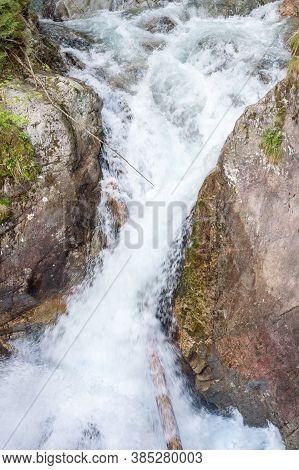Wodogrzmoty Mickiewicza Waterfall On Mountain River Roztoka.