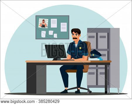 Vector Policeman Officer Detective In Uniform Working On Computer Sitting At Table. Crime Investigat