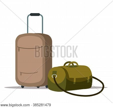 Plastic Suitcases With Wheels And Retractable Handle And Travel Bag Isolated Objects. Handle Luggage