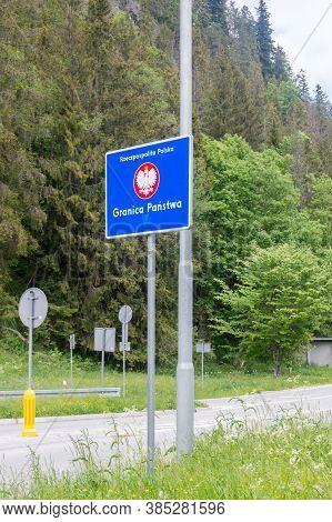 Lysa Polana, Poland - June 14, 2020: Republic Of Poland Border Sign On Entrance To Poland At Polish-