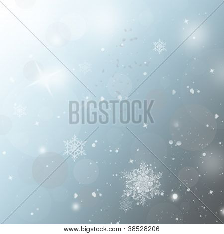 Light Silver And Blue Abstract Christmas Background With White Snowflakes