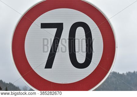 70 Kilometers Per Hour Speed Limit Traffic Sign, Red Circle
