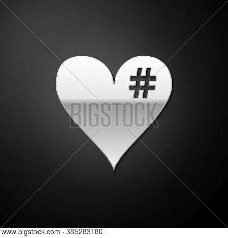 Silver The Hash Love Icon. Hashtag Heart Symbol Icon Isolated On Black Background. Long Shadow Style