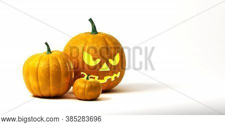Tree Halloween Pumpkin Isolated On White Background
