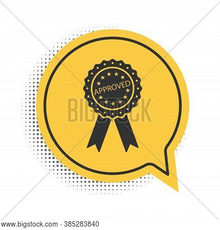 Black Approved Or Certified Medal Badge With Ribbons Icon Isolated On White Background. Approved Sea