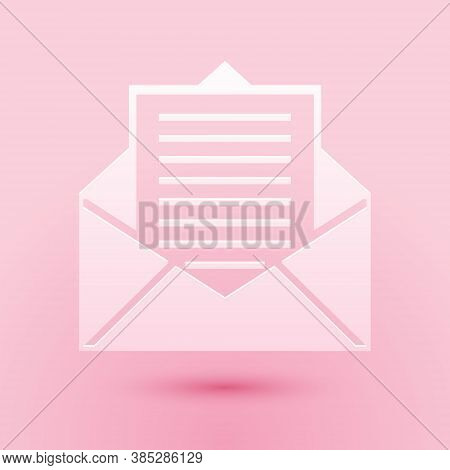 Paper Cut Mail And E-mail Icon Isolated On Pink Background. Envelope Symbol E-mail. Email Message Si
