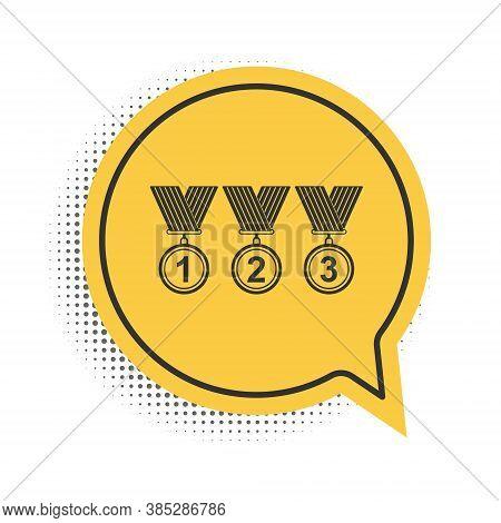 Black Set Medal Icon Isolated On White Background. Winner Simbol. Yellow Speech Bubble Symbol. Vecto