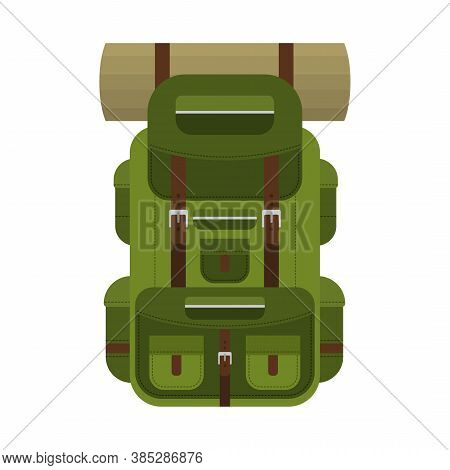 Camping Backpack For Hiking, Travel And Tourism Isolated On White Background. Backpack For Camp Gear
