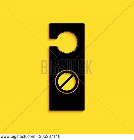 Black Please Do Not Disturb Icon Isolated On Yellow Background. Hotel Door Hanger Tags. Long Shadow