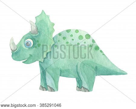 Cute Cartoon Green Dinosaur Painted In Watercolor Isolated On White Background. Fantastic Prehistori