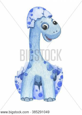 Cute Cartoon Blue Dinosaur Painted In Watercolor Isolated On White Background. Fantastic Prehistoric