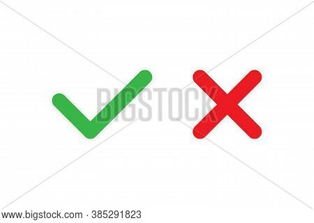 Correct And Wrong Checkmark Sticker. Isolated Yes And No Tick. Positive And Negative Survey Icon. Re