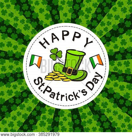 St. Patrick's Day Party Poster In Hand Drawn Style. Irish Elements On The White Round Frame. Leprech