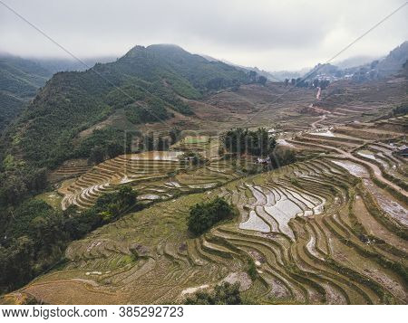 Vietnam, Sa Pa, Rice Fields In Fog. Top View, Aerial View. Beautiful Natural Landscape Of Southeast