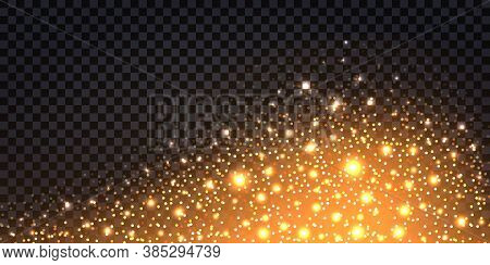 Golden Glitter Sparkles And Glowing Luminous Stardust On Dark Transparent Background. Flying Shiny C