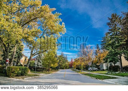 Toronto, Canada-Oct 26, 2019: Scenic view and landscape of Overland streets in Toronto. Canada.