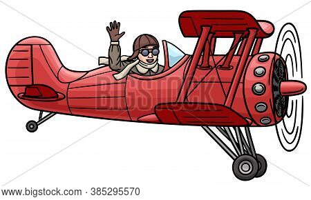 Red Biplane Flying In The Air. Isolated Illustration.