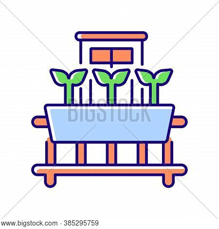 Windowsill Gardening Rgb Color Icon. Cultivate Plants On Window. Growing Sprout In Pots. Seedling On