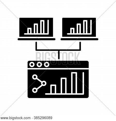 Webcast Black Glyph Icon. Share Online Presentation. Screen With Data Analytics. Information Diagram