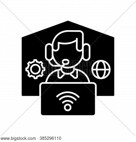 Remote Workplace Black Glyph Icon. Freelancer Work. Distant Workspace. Home Office For Freelance. On