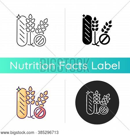 Gluten Icon. Wheat Free Product. No Allergy Ingredient. Nutrient Diet Without Grain. Label For Groce