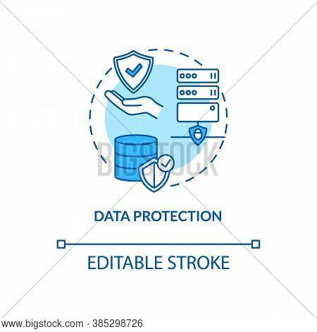 Data Protection Concept Icon. Safeguarding Important Information Idea Thin Line Illustration. Integr